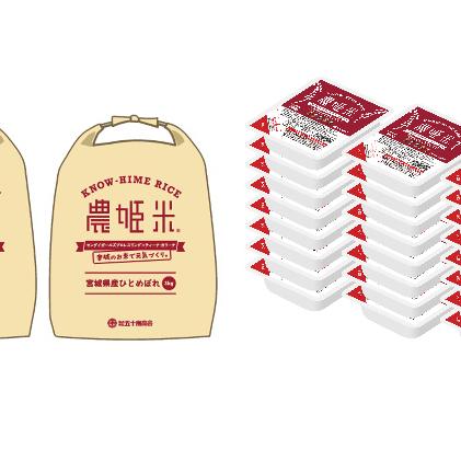 【ふるさと納税】農姫米ひとめぼれ(精米)3kg×2袋+パックごはん24個 【お米・ひとめぼれ・加工食品・惣菜・レトルト】