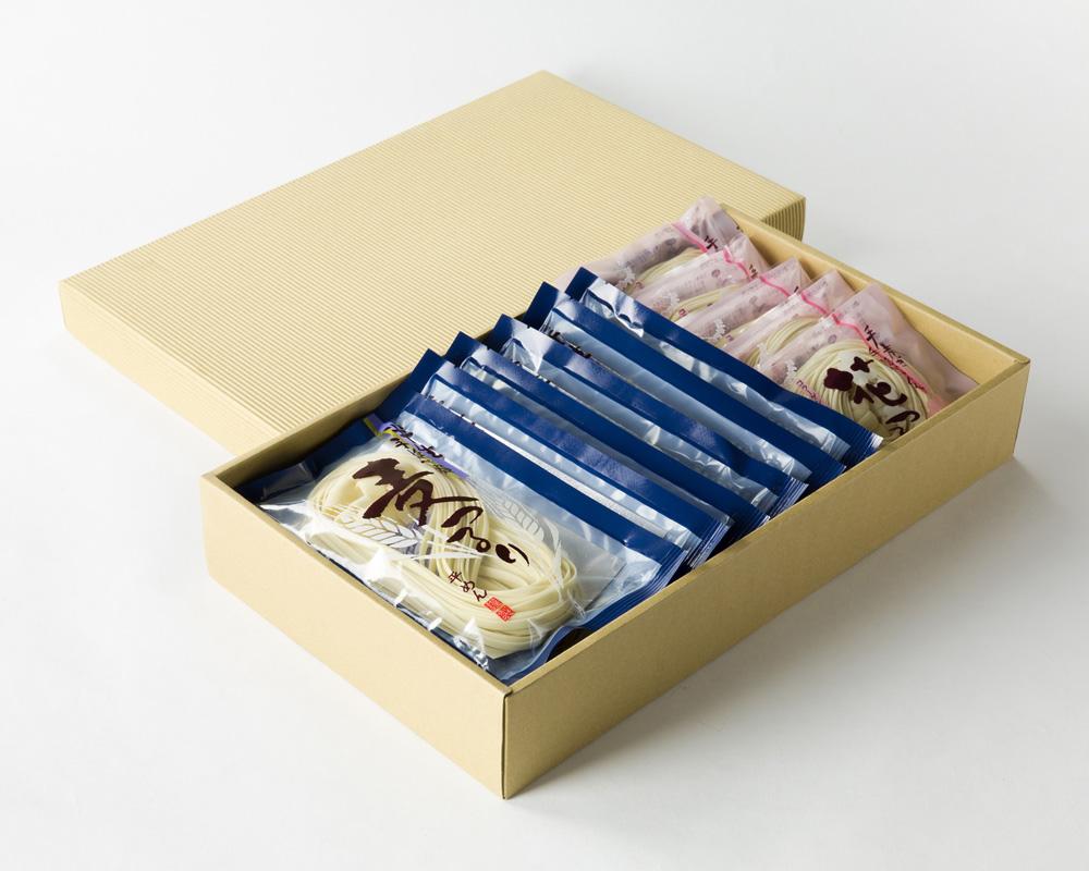 【ふるさと納税】MC-56 手巻き手延べうどん 花つるりん(90g×5袋) 手延べ手巻きうどん 麦つるり(90g×6袋)
