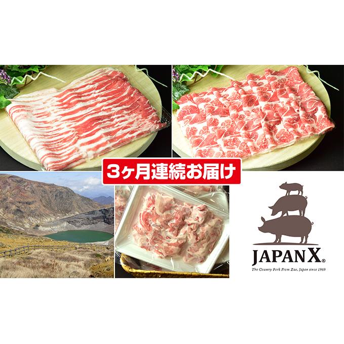宮城県蔵王町 ふるさと納税 3ヶ月 JAPAN 期間限定送料無料 X3種2mmスライスセット2.8kg 豚肉 お肉 定期便 卓越 バラ肩ロース小間