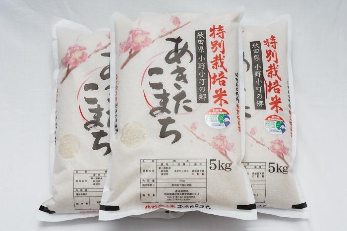 【ふるさと納税】令和2年産米 C2202 小野小町の郷特別栽培米あきたこまち5kg×3袋