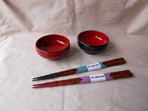 【ふるさと納税】H5901 川連漆器 3寸小鉢・先乾漆摺漆箸ペア
