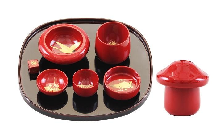 【ふるさと納税】E5701 川連漆器 きのこ酒杯・トレーセット