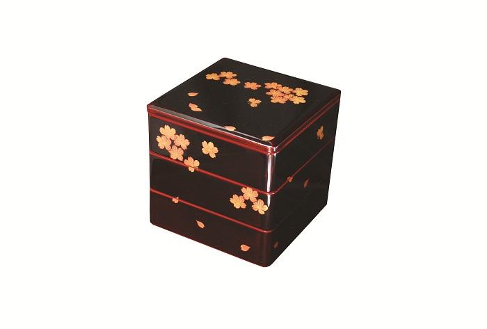 【ふるさと納税】E6102 川連漆器 三段重箱 桜磨絵