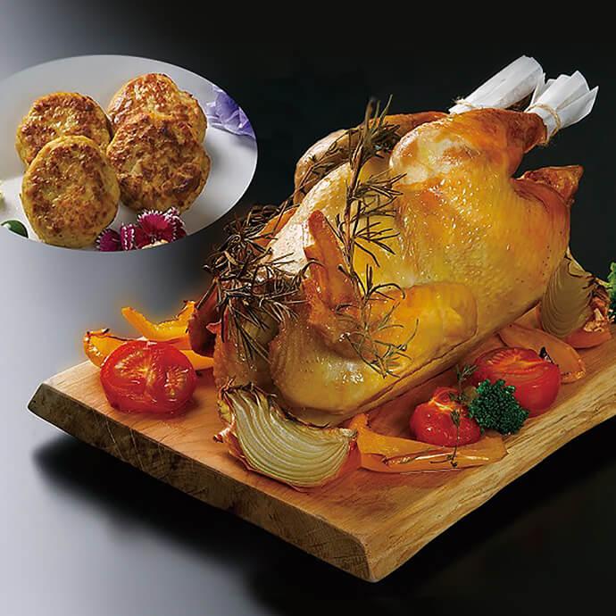 【ふるさと納税】比内地鶏ローストチキン&ハンバーグ F