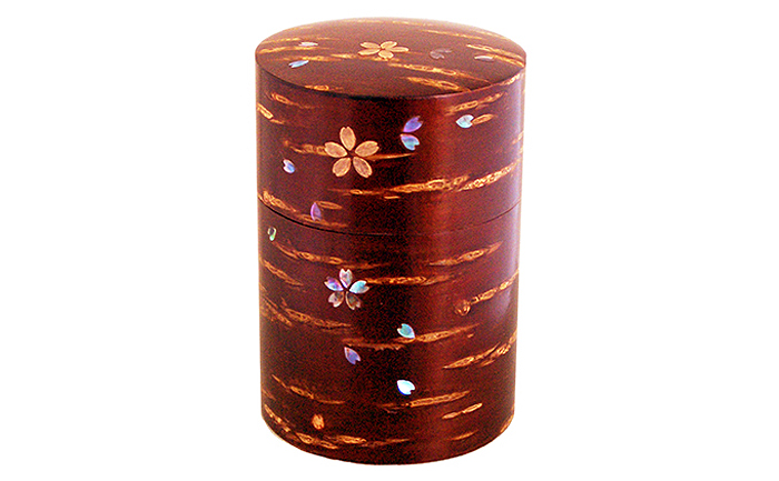 【ふるさと納税】[樺細工]総皮茶筒大(ラデン桜)