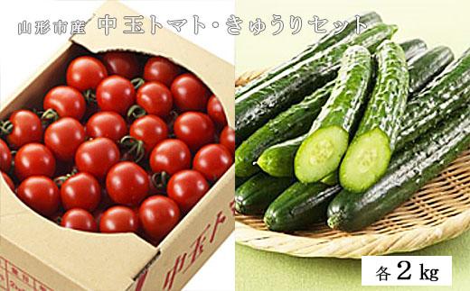 【ふるさと納税】FY19-192 山形市産 中玉トマト2kg・きゅうり2kgセット