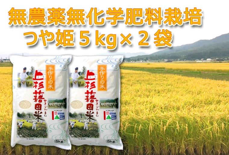【ふるさと納税】H30年秋お届け_新米_無農薬無化学肥料栽培つや姫10kg(5kg*2袋)