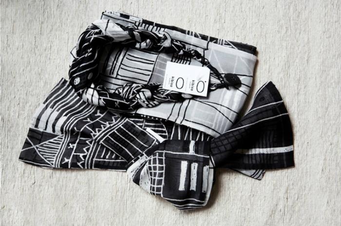 【ふるさと納税】B30-613 袋ストール(街)/黒×白