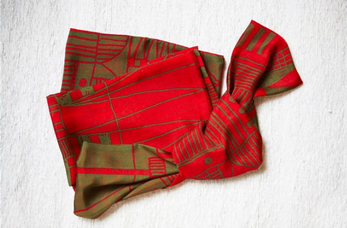 【ふるさと納税】B01-615 袋ストール(街)/赤×緑