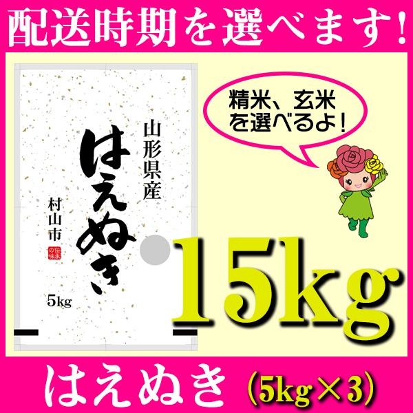 【ふるさと納税】 米 15kg 5kg×3 はえぬき 精米 玄米 令和元年産 山形県村山市産 送料無料