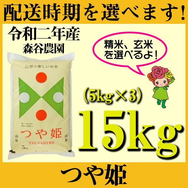 【ふるさと納税】 米 15kg 5kg×3 つや姫 新米 精米 玄米 令和2年産 2020年産 山形県村山市産 送料無料 先行予約