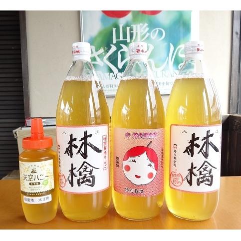 【ふるさと納税】ふじリンゴジュース1L×3本ハチミツ300g×1セット 【果実ジュース・林檎・りんご・リンゴ・フルーツジュース・はちみつ・蜂蜜・詰め合わせ】