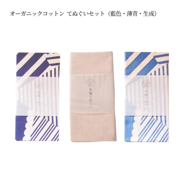 【ふるさと納税】オーガニックコットン てぬぐいセット(藍色・薄青・生成)