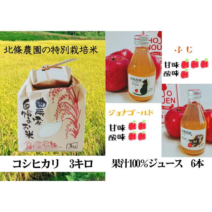 【ふるさと納税】北條農園の林檎ジュースとお米3kg