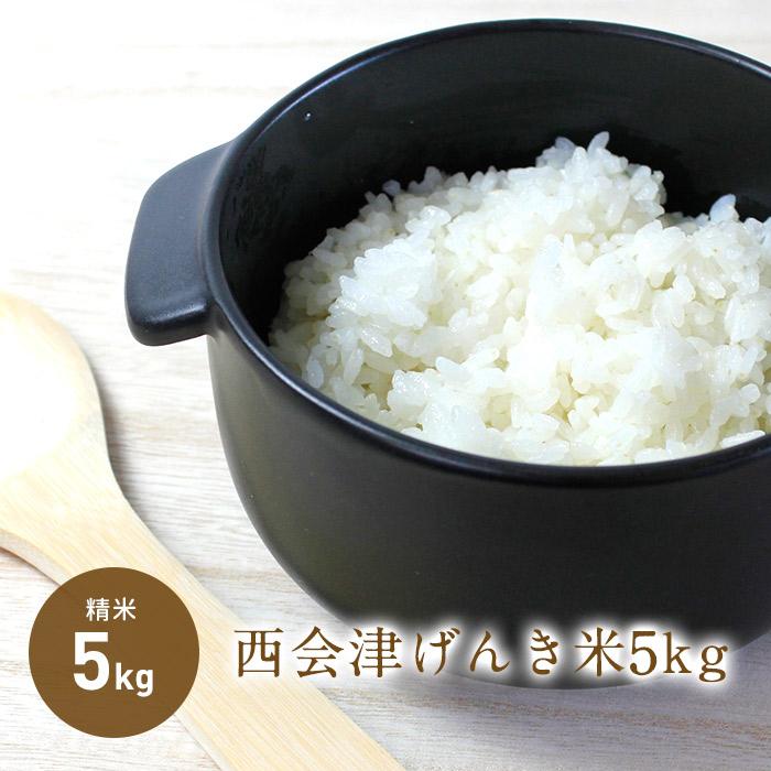 げんき米は 福島県の慣行栽培から化学窒素と化学農薬を5割以上低減して栽培しています ふるさと納税 令和2年産新米 信用 OUTLET SALE 西会津げんき米 コシヒカリ 5kg精米 新米予約 特別栽培米