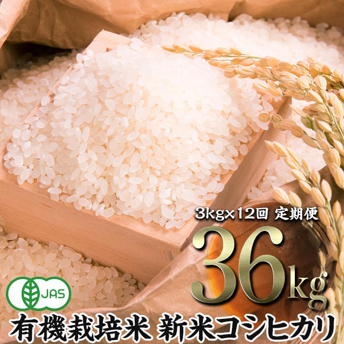 ふるさと納税 令和3年産 定期便 JAS認定 有機栽培米 年間定番 3kg×12回 コシヒカリ 精米 1カ月に1回 返品交換不可
