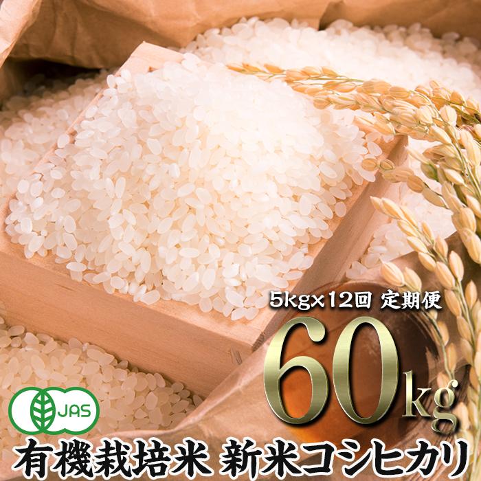 【ふるさと納税】《先行予約》令和2年産新米 <定期便>JAS認定 有機栽培米 コシヒカリ 精米 5kg×12回 (1カ月に1回)