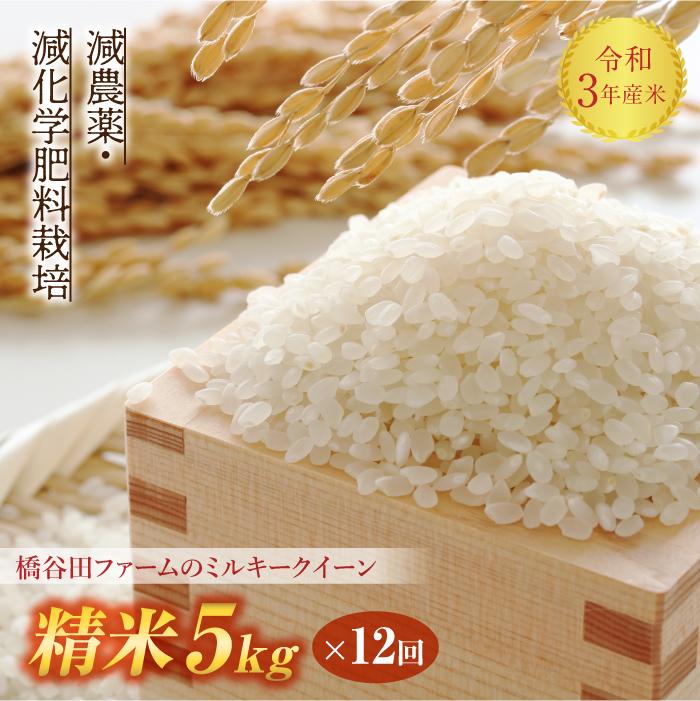冷めても美味しい 人気のお米です ふるさと納税 令和3年産 定期便 減農薬 減化学肥料栽培 ミルキークイーン 限定Special Price 5kg×12回 1カ月に1回 高級 精米