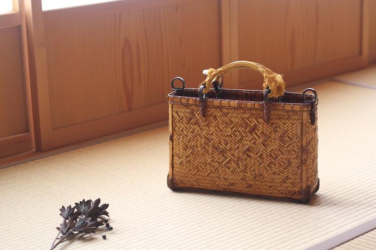 【ふるさと納税】竹細工 網代編み手さげバッグ 吹き漆