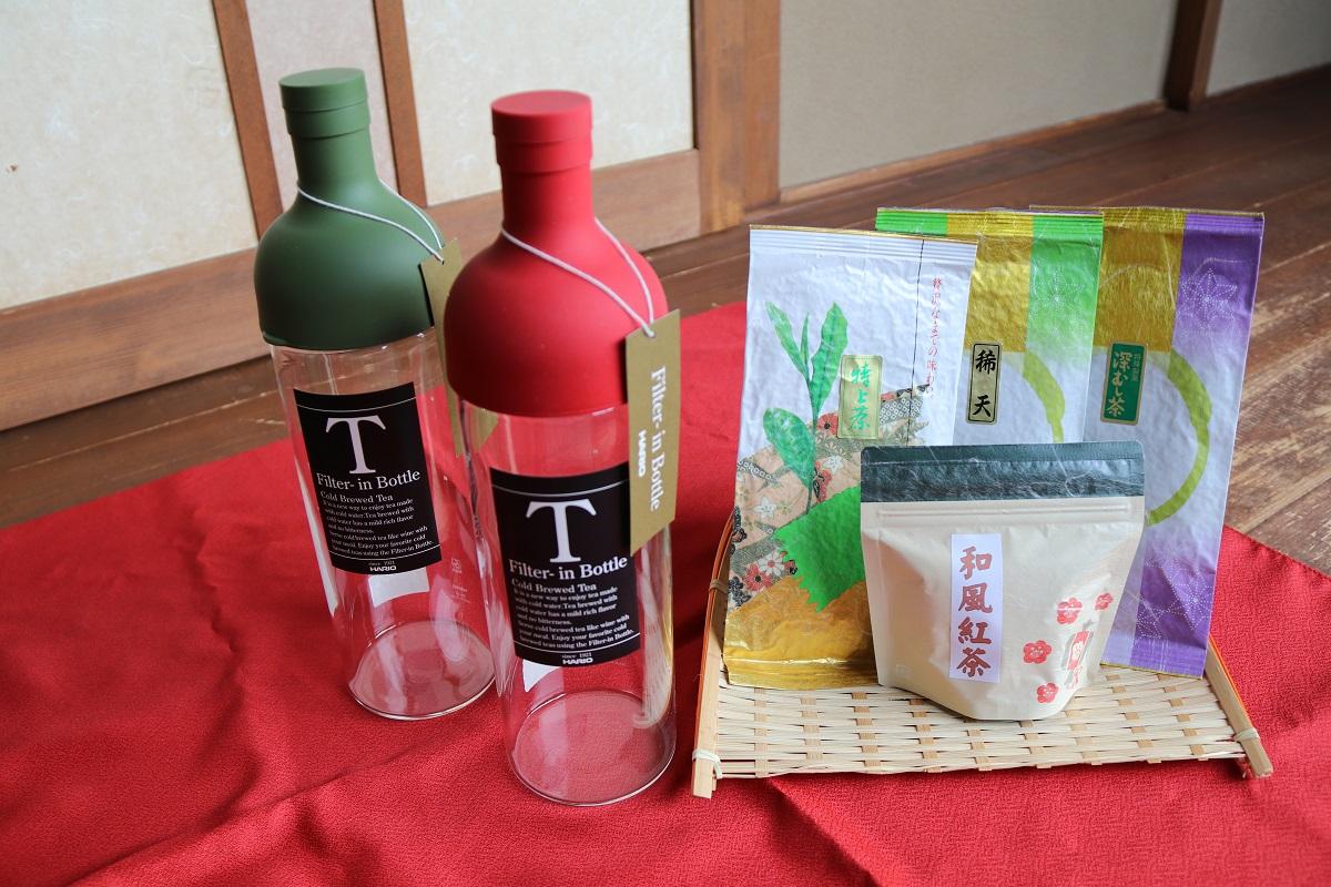 【ふるさと納税】BA04_水出しでおもてなし!さしま茶の極上煎茶とHARIOフィルターインボトル750ml×2本の詰め合わせ 水だし/日本茶/煎茶/ハリオ/