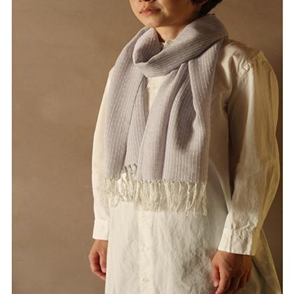 【ふるさと納税】結城紬 一年中ショール(時雨)薄氷ーうすらい 【ファッション小物・ファッション・ショール】