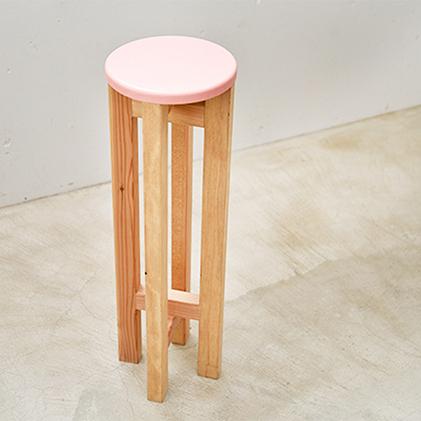 【ふるさと納税】小さなスツール(ピンク×ブラウン) 【雑貨・日用品・インテリア】