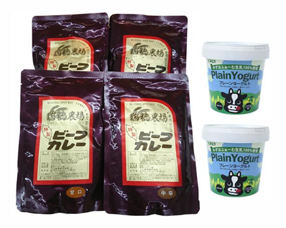 【ふるさと納税】No.099 瑞穂牛カレー&ヨーグルトセット / 牛肉 ビーフカレー レトルト ブランド牛 乳製品