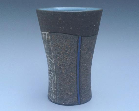 【ふるさと納税】No.163 御前山焼 熔砂青釉ビアカップ / 陶器 コップ ビール