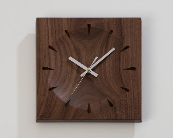 【ふるさと納税】No.227 時計 ソアレ角(大) ウォールナット材 / 掛け時計 天然木 手作業
