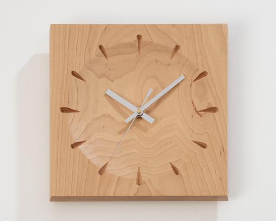 【ふるさと納税】No.228 時計 ソアレ角(大) ハードメープル材 / 掛け時計 天然木 手作業