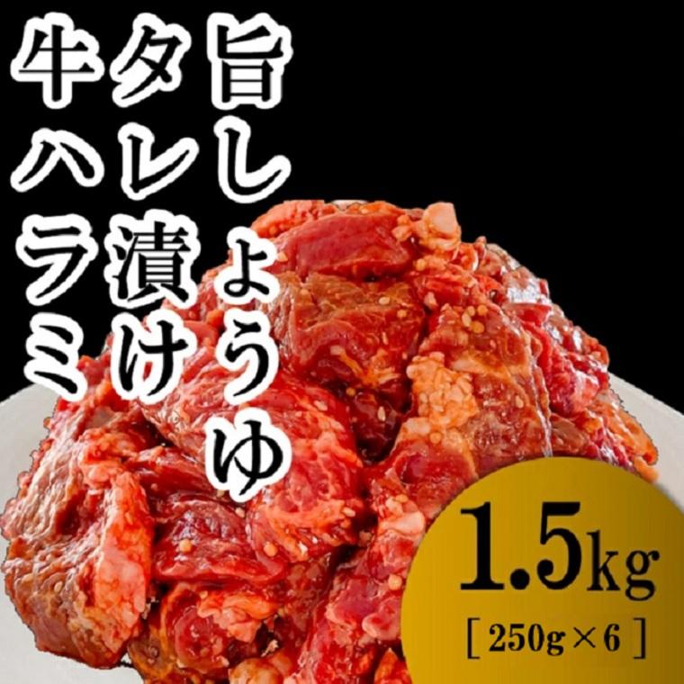 肉 牛肉 焼肉 ハラミ 1.5kg 小分け グルメ 牛ハラミ1.5kg 旨しょうゆタレ漬け ランキングTOP10 ふるさと納税 250g×6パック 取り寄せ 即納 送料無料