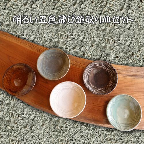 【ふるさと納税】益子焼 えのきだ窯 明るい五色飛び鉋取り皿セット