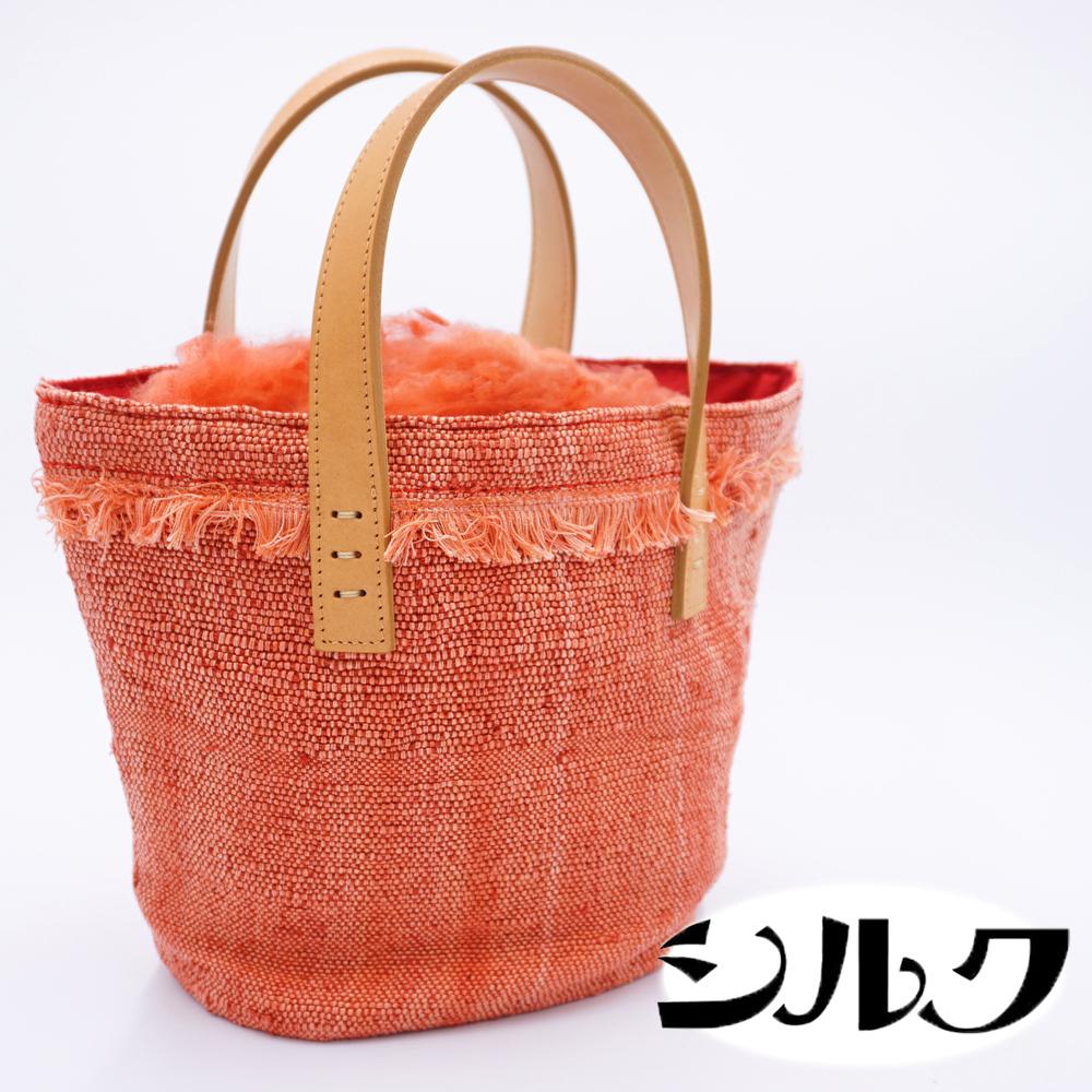 【ふるさと納税】国産富岡シルク使用 手織り茜染め きびそ布(絹)のトートバック
