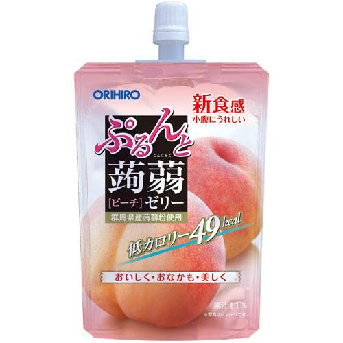 オリヒロ ぷるんと蒟蒻ゼリースタンディング ピーチ 1ケース(130g×48個)