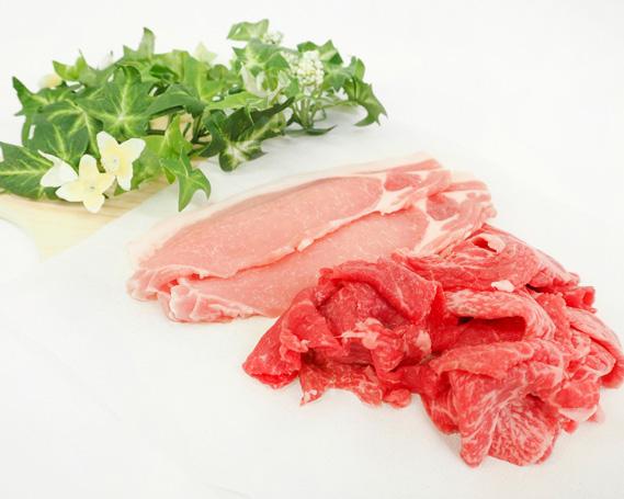 【ふるさと納税】No.043 上州牛・上州麦豚セット 約1.9kg / 牛肉 豚肉 切落し ロース 群馬県