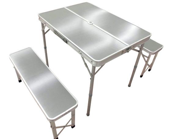 【ふるさと納税】No.054 テーブル&ベンチセット メラミン天板 / アウトドア キャンプ 折りたたみ 群馬県
