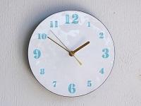 【ふるさと納税】Kenichi Kondo 七宝じかん 七宝文字盤M(壁掛け時計セット・白地に水色文字)