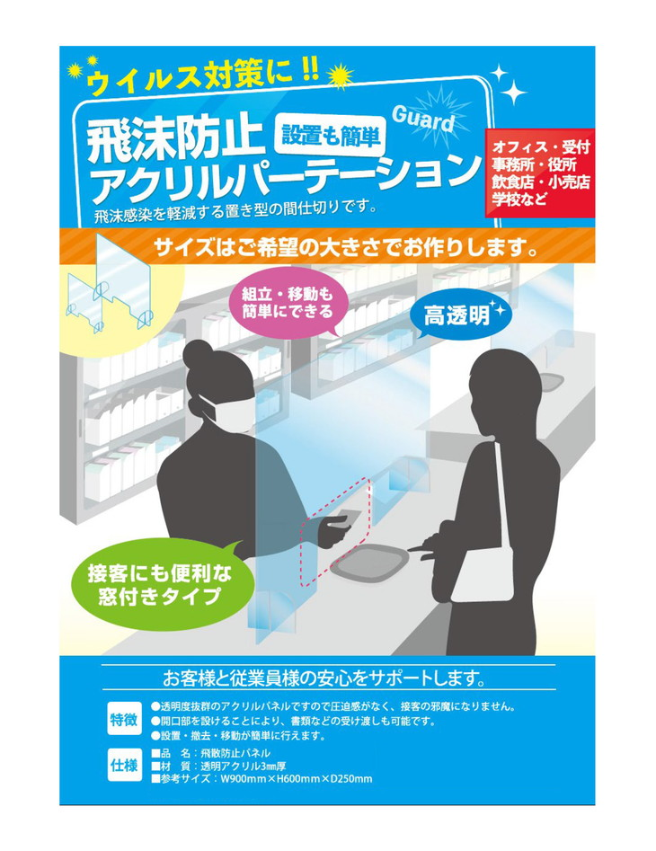 コロナ禍の飛沫感染予防に ふるさと納税 飛沫防止パネル5枚セット 品質検査済 送料無料でお届けします