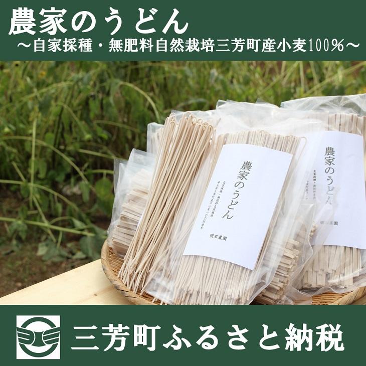 【ふるさと納税】農家のうどん ~自家採種・無肥料自然栽培三芳町産小麦100%~