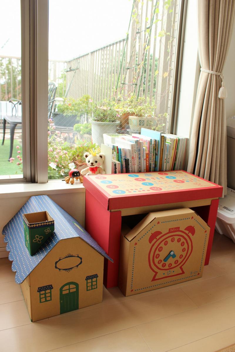 【ふるさと納税】成長に合わせて使える段ボール家具 ジュニアデスクチェア&おうち型収納ボックス