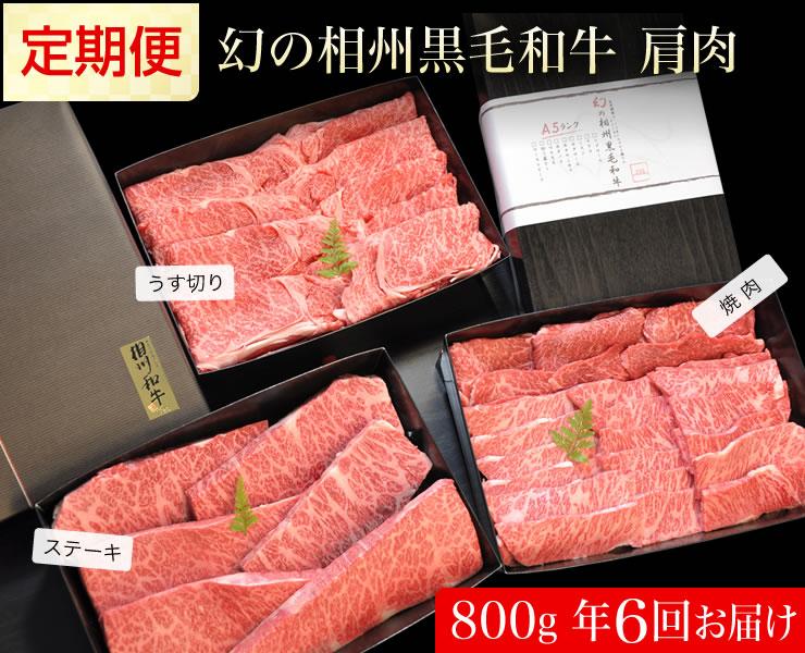 【ふるさと納税】牛肉 定期便 6回 幻の相州黒毛和牛肩肉 800g×6回 計4.8kg【 相州牛 相州和牛 神奈川県 小田原市 】