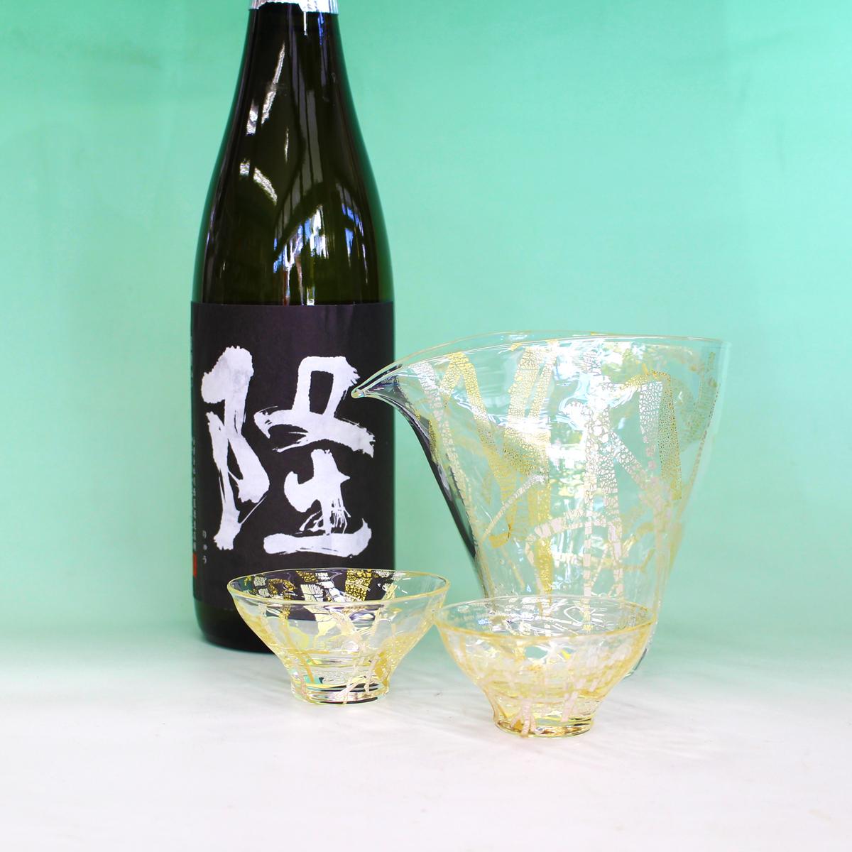 【ふるさと納税】ハンドメイドガラス冷酒器セット+隆(りゅう) 純米大吟醸 黒(白)4合