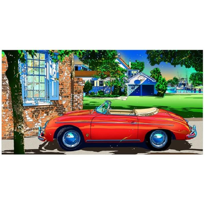 【ふるさと納税】鈴木英人版画「ポルシェ356スピードスター2」フレーム付き 【絵画・インテリア】