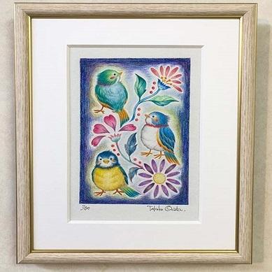 【ふるさと納税】白木フレーム入り版画「小鳥たち」絵本作家おまたたかこジークレー版画 【インテリア】