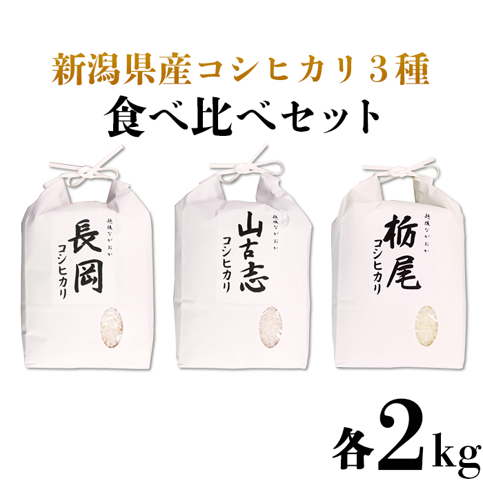 【ふるさと納税】75-023新潟県産コシヒカリ3種食べ比べセット(長岡産・山古志産・栃尾産)各2kg