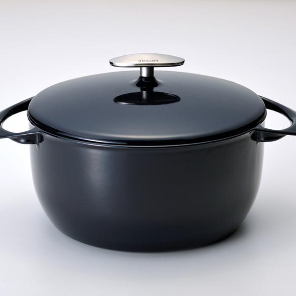 人気海外一番 物品 ふるさと納税 085P003 UNILLOY ユニロイ 22cm 藍 キャセロール ホーロー鍋