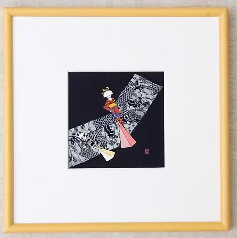 【ふるさと納税】I19 天然藍染額絵(30cm×30cm)【花嫁人形柄】