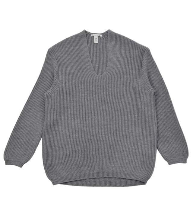 【ふるさと納税】レディース セーター ( グレー ) Vネック プルオーバー ニット 両畦編み