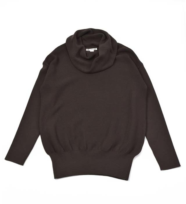 【ふるさと納税】レディース セーター ( ブラウン ) オフ タートル ニット ガーター編み