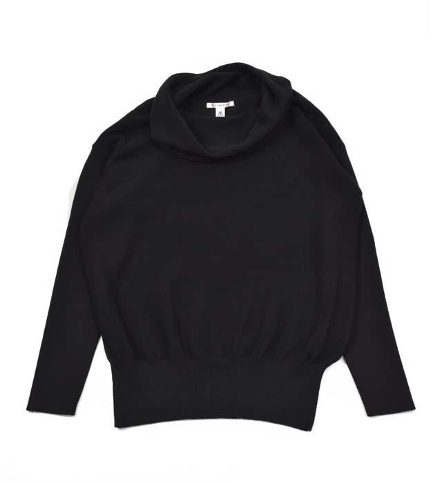 【ふるさと納税】レディース セーター ( ブラック ) オフ タートル ニット ガーター編み
